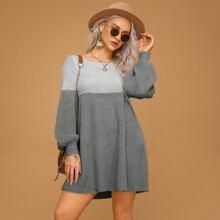 Two Tone Bishop Sleeve Sweater Dress