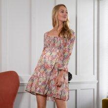 Maternity Lantern Sleeve Shirred Bodice Floral Dress