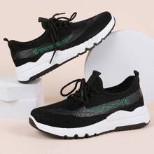 Lace Up Decor Chinese Letter Graphic Knit Sneakers