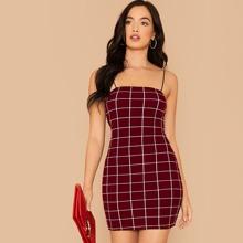 Grid Bodycon Slip Dress