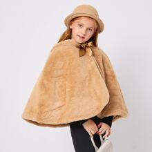Girls Bear Ear Bow Front Faux Fur Cape Coat