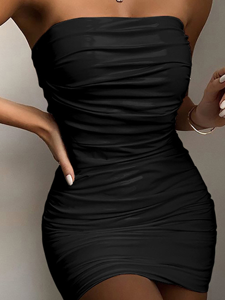 Yoins Sexy Pleated Strapless Sleeveless Mini dress