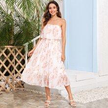 Tube Kleid mit Rueschenbesatz, Raffungsaum und tropischem Muster