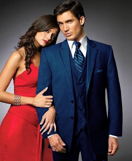 2 Btn Suit/Colored Tuxedo Satin outlines Matching Trousers Navy Blue