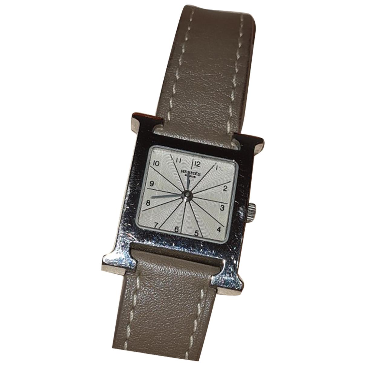 Hermes Heure H Uhr in  Silber Stahl