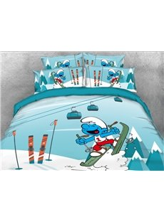 Laughing Smurf Skiing 4-Piece Bedding Sets/Duvet Covers