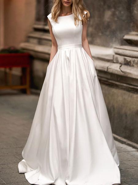Milanoo vintage wedding dress 2020 a line bateau neck sleeveless floor length satin bridal gown