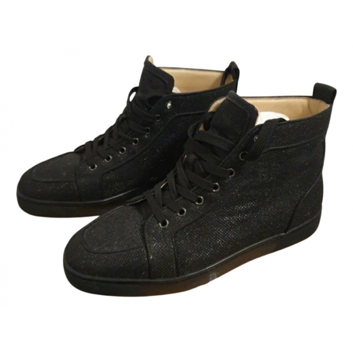 Christian Louboutin Louis Black Glitter Trainers for Men 43 EU