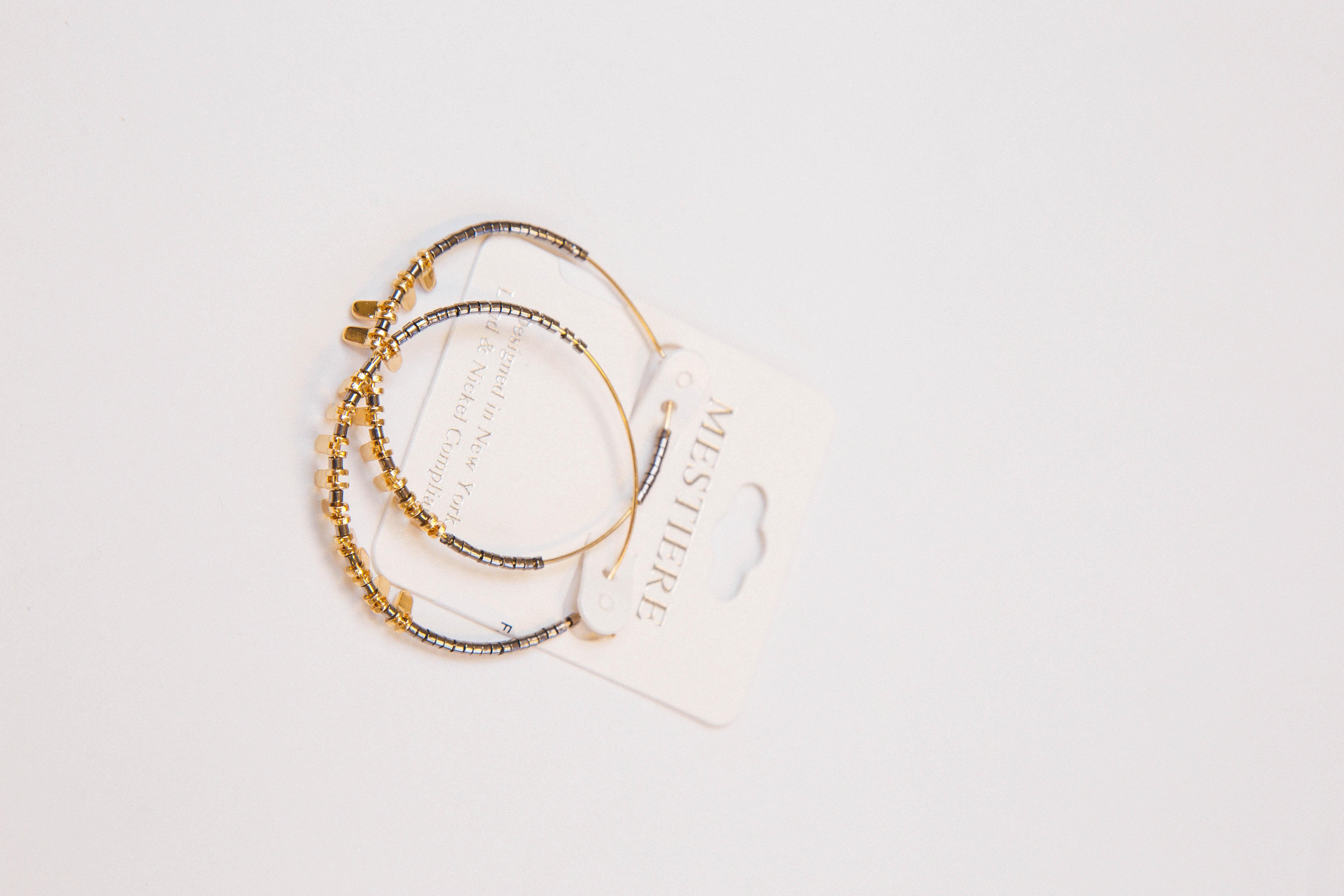 Cariann Charm Hoop Earrings Grey/Gold