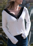 Color Block V-Neck T-Shirt Tee without Necklace - White