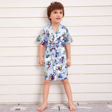 Toddler Boys Allover Cartoon And Letter Graphic Belted Robe
