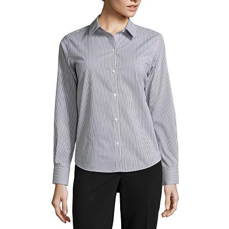 Liz Claiborne Long-Sleeve Wrinkle-Free Shirt, Petite X-small , Black