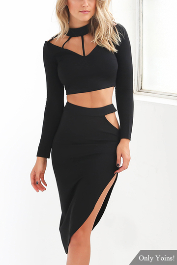 Yoins Black Long Sleeves Top and Slited Skirt Suit