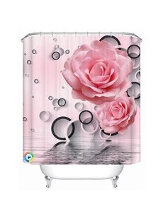 Innovative Design Pink Peony and Circle Print 3D Shower Curtain