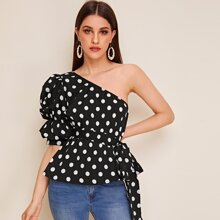 One Shoulder Puff Sleeve Belted Polka Dot Top