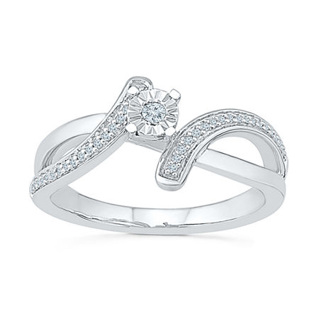 Promise My Love Womens 1/10 CT. T.W. Genuine White Diamond Sterling Silver Promise Ring, 4 , No Color Family