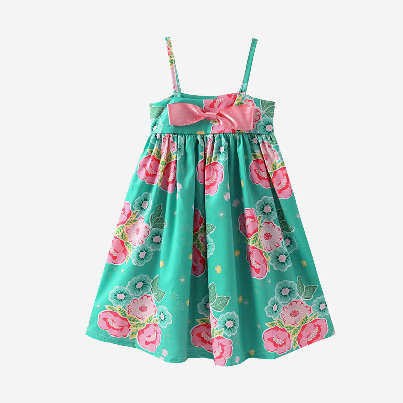 Girl's Floral Print Bowknot Sleeveless Green Straps Dress For 2-8Y