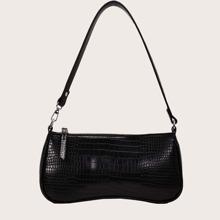 Minimalist Croc Embossed Baguette Bag
