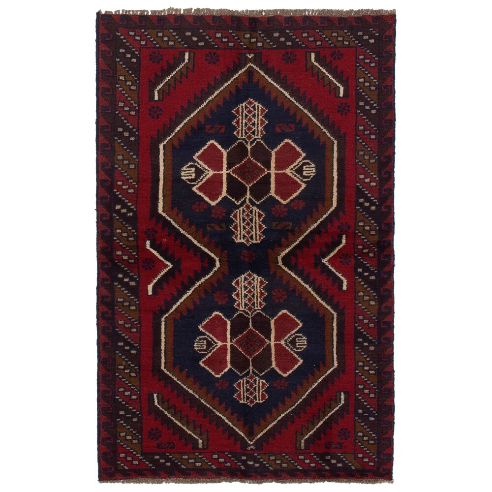 ECARPETGALLERY Hand-knotted Teimani Red Wool Rug - 37 x 64 (Red - 37 x 64)