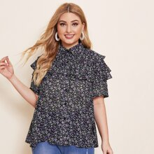 Plus Ditsy Floral Layered Ruffle Blouse