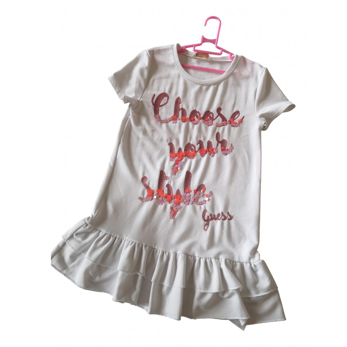 Guess - Robe    pour enfant en coton - elasthane - blanc
