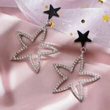 Rhinestone Decor Star Charm Drop Earrings