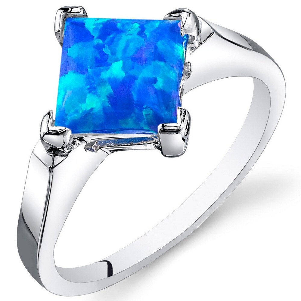 Created Blue-green Opal Ring in Sterling Silver 1.50 Carats (9)