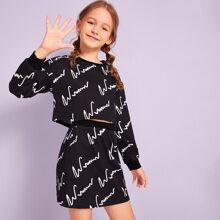 Conjunto de niñas pullover con estampado de dibujo con falda
