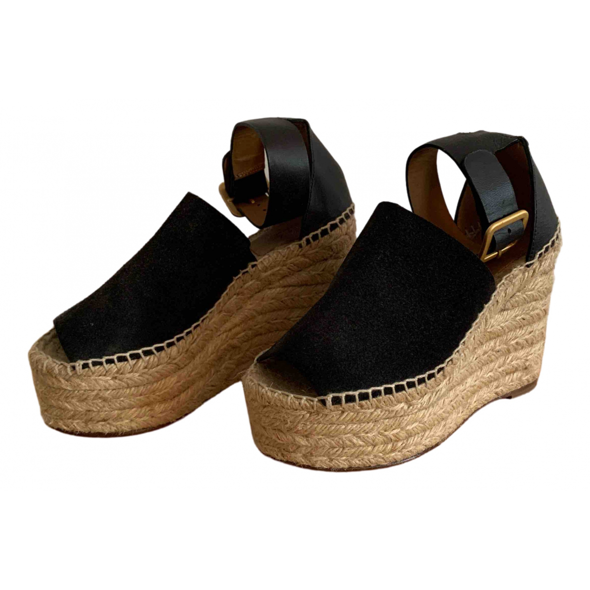 Chloé Lauren Black Suede Espadrilles for Women 34 EU