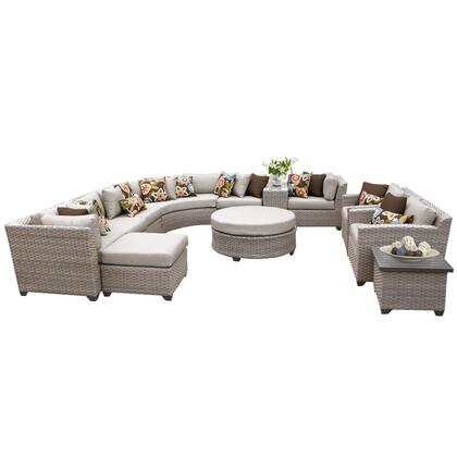 FLORENCE-12a-BEIGE Florence 12 Piece Outdoor Wicker Patio Furniture Set 12a with 2 Covers: Grey and