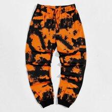 Pantalones deportivos de cintura con cordon de tie dye