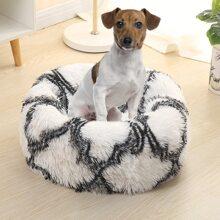 1pc Round Plush Dog Bed