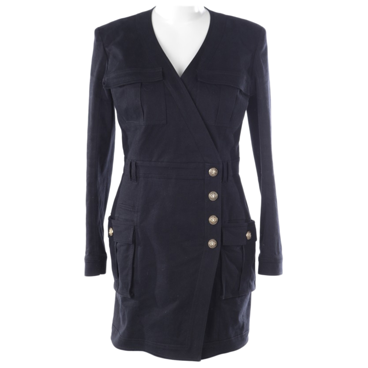 Balmain \N Kleid in  Blau Baumwolle