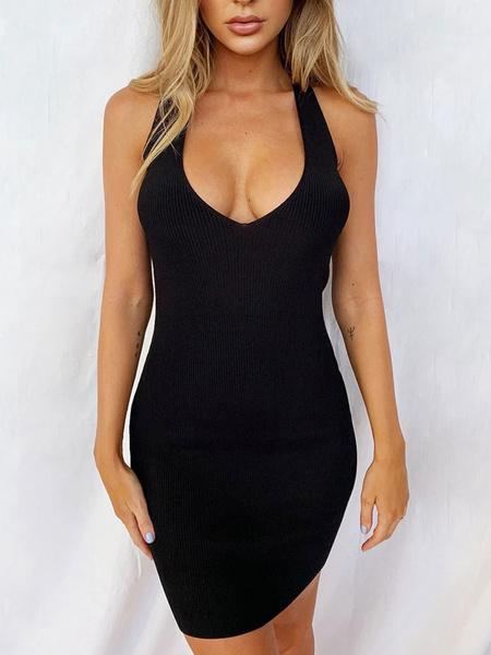 Milanoo Vestido ajustado sin mangas con espalda cruzada y lapiz
