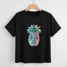 Plus Colorful Pineapple Print Tee