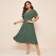 Chiffon A-Linie Kleid mit Gaensebluemchen Muster und Knopfen vorn