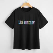 Camiseta de cuello redondo con estampado de letra