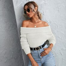 Off Shoulder Fuzzy Knit Sweater