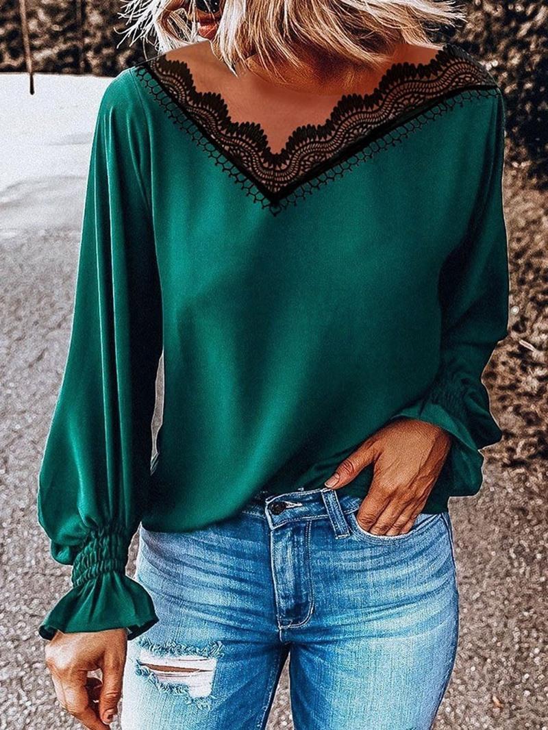Ericdress Patchwork Long Sleeve Standard Women's Slim Blouse