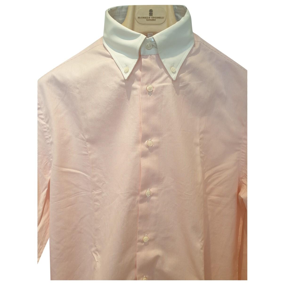 Brunello Cucinelli \N Pink Cotton Shirts for Men L International