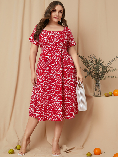 YOINS Plus Size Red Calico Square Neck Short Sleeves Dress