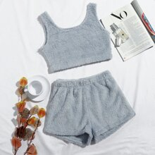 Solid Flannel Tank Top With Shorts Lounge Set