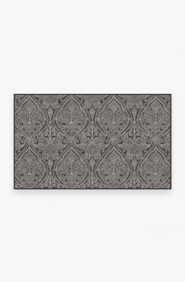Washable Rug Cover   Lacis Damask Charcoal Rug   Stain-Resistant   Ruggable   3'x5'