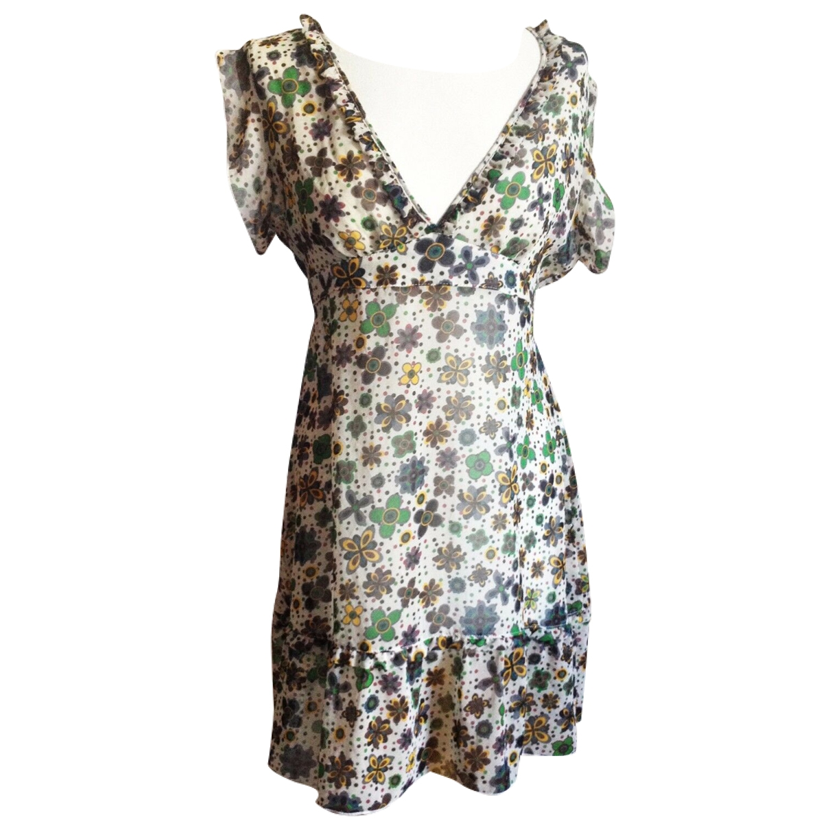 Non Signe / Unsigned Hippie Chic Kleid in  Weiss Polyester