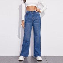 Jeans mit umgesaeumtem Saum
