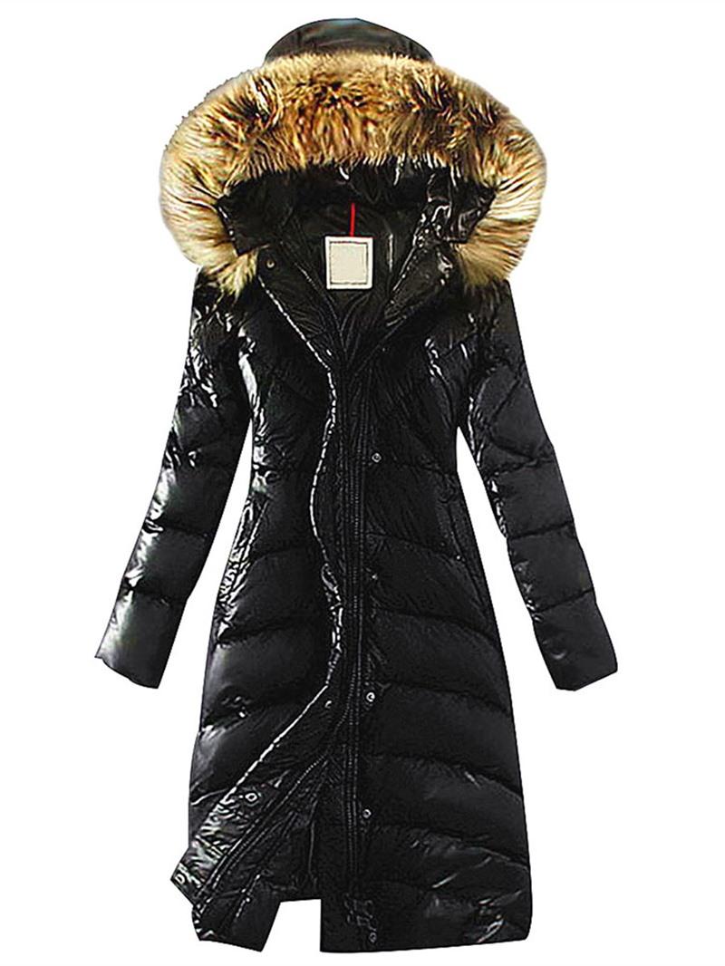Ericdress Faux Fur Hooded Long Warm Thicken Women's Winter Overcoat