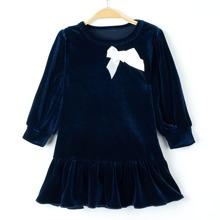 Samt Kleid mit Schleife vorn