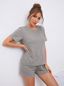 Space Dye Tee & Knot Front Shorts Lounge Set