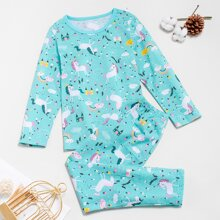 Toddler Boys Unicorn And Floral Print PJ Set