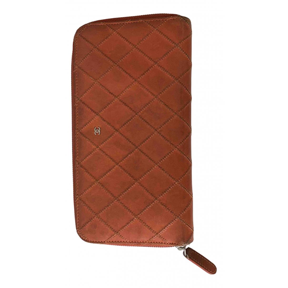 Chanel N Orange Leather wallet for Women N